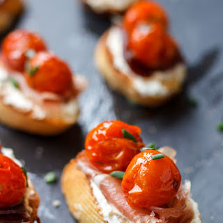 Roasted Cherry Tomato and Prosciutto Toasts