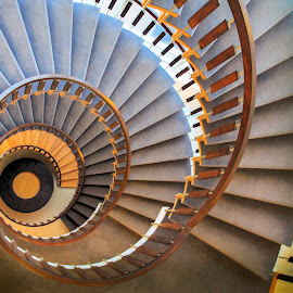 Spiral Stairs by Jeff McVoy - Buildings & Architecture Other Interior ( stairs, downward, circle, steps, down, spiral )