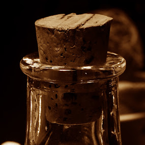 Cork in the Bottle by Frank Matlock II - Artistic Objects Still Life ( macro, cork, still life, glass, bottle, close )
