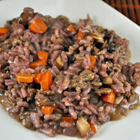 Red Wine Risotto with Beef and Mushrooms