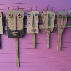 faces by Dean Moriarty - Artistic Objects Still Life ( wooden, faces, purple, street art, art )