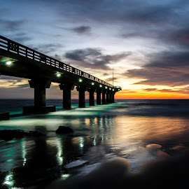 Shark Rock Pier by Cindy Bester - Buildings & Architecture Bridges & Suspended Structures ( clouds, beaches, sand, reflections, pier, sunrise, beach )