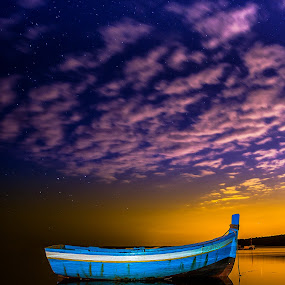 Alone ! by Emanuel Fernandes - Landscapes Waterscapes ( water, stars, night, portugal, boat,  )