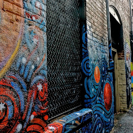 Street Scene in the Alley by Barbara Brock - City,  Street & Park  Neighborhoods ( street art in the alley, urban art, graffiti, street art, alley )