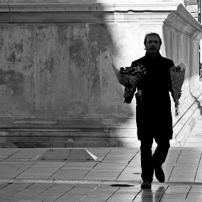 ANCIENT FLOWERS by Adrian Penes - People Street & Candids ( black and white, nimes, france, men, flowers, love, postcard, valentine's day )