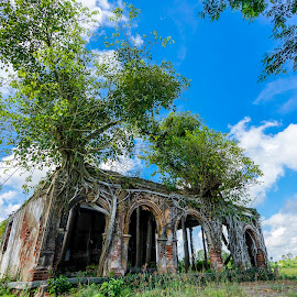 Prodigies of nature by Sơn Hải - Landscapes Travel ( temple, old, sky, ancient, nature, tree, grass, viet nam, green, asia, cloud, vietnam, travel, landscape, asian )