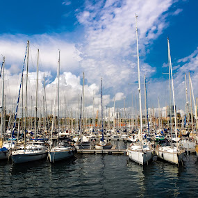 The Dock, Barcelona by Andrey Dayen - Transportation Boats ( sky, boats, summer, landscape, barcelona, spain, dock )
