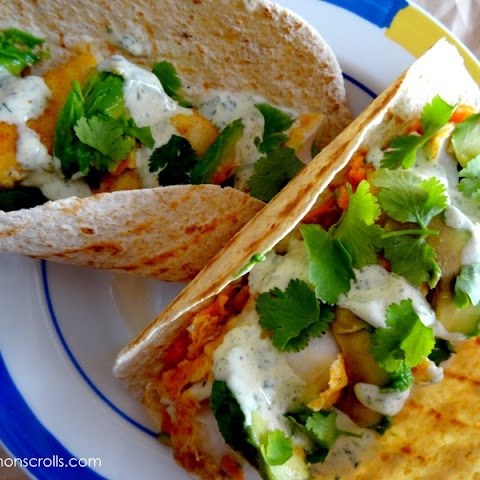 Pan-fried Flathead Tacos with Carrot Asparagus Slaw & Chili Coriander Mayo
