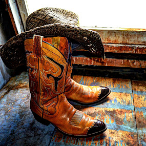 Boots and Hat in the Attic by JoAnn Palmer - Artistic Objects Clothing & Accessories ( cowboy, cowboy boots, cowboy hat, leather boots, attic, boots, country, hat )