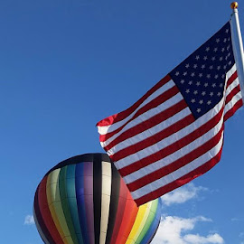 Freedom ... by Sharon Perkins - Instagram & Mobile Android ( hot air balloon, flag, freedom, patriotic, balloon )