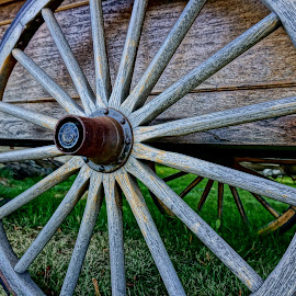 Wheeling by Barbara Brock - Artistic Objects Antiques ( antique wheel, wooden wheel, wheel spokes, wagon wheel, old west )