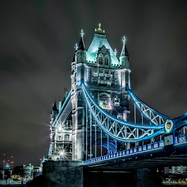 Tower Bridge by Raimondas Zavackis - Buildings & Architecture Bridges & Suspended Structures ( lights, tower, tower bridge, long exposure, night )