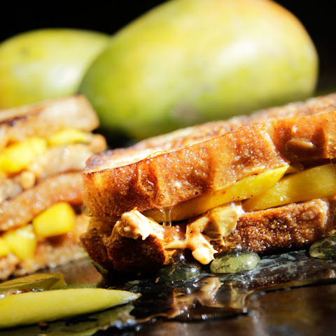 Grilled Chili Mango, Peanut Butter & Honey Sandwiches