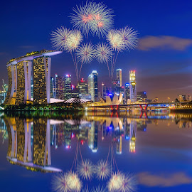 Firework on Singapore Skyline by Nuttawut Uttamaharach - Digital Art Places ( famous, reflection, skyline, wheel, skyscrapers, exterior, silhouette, architecture, cityscape, travel, landscape, singapore, panorama, business, city, center, modern, sky, tree, asia, marina, east, light, evening, commercial, downtown, financial, building, dusk, urban, tower, bay, sunset, night, finance, view, hotel, bridge, river )