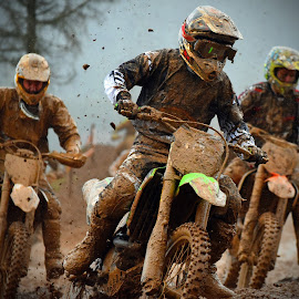 Trio Infernal! by Marco Bertamé - Sports & Fitness Motorsports ( position, curve, turn, fight, race, slowdown, bike, mud, motocross, motorcycle, clumps, tough, trio, crowded, competition )