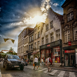 shopping street by Egon Zitter - City,  Street & Park  Markets & Shops ( crossing, shops, street, belgium, sunlight, zebrapath, walk )