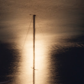 Mast at Midnight by Lisa Cozene - Abstract Patterns ( water, abstract, mast, midnight, boat, moonlight )