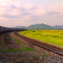 The Train by Sudipto Hazra - Instagram & Mobile Other ( hills, sky, train, landscape, country, mobile )