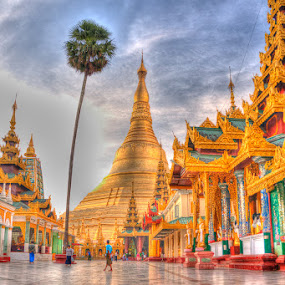 Shwedagon HDR by Tin Htoo Khaing - Digital Art Places ( myanmar. hdr painterly, yangon, shwedagon pagoda )