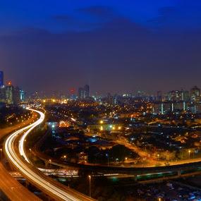 Kuala Lumpur Panorama by Zack Zaidi - City,  Street & Park  Skylines ( highway, street, nightscene, cityscape, kuala lumpur, panorama )