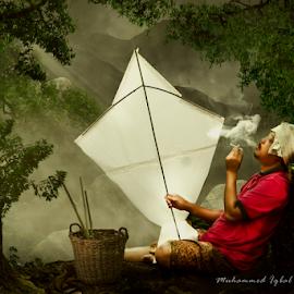 Kiteman Story by Muhd Iqbal - Digital Art People ( kites, traditional, smokey, photography, digital art )