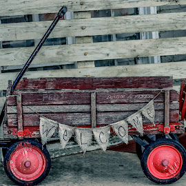 Welcome Wagon by Christy Stanford - Artistic Objects Toys ( sign, old, red, toy, vintage, wagon )
