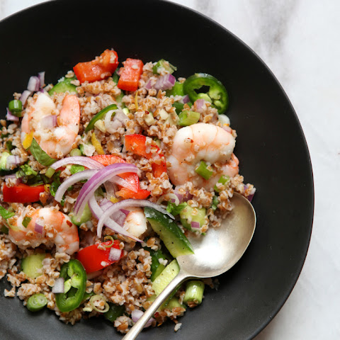 Bulgur Salad with Shrimp and a Lovely Cumin Dressing