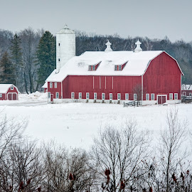 Red Barn In Winter by Jebark Fineartphotography - Buildings & Architecture Other Exteriors ( farm, winter, red, barn, ice, snow, wintry, rural )