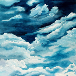 by Ans Duin - Painting All Painting ( water, clouds, zee, sky, ansduin )