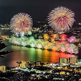 Fireworks cityscape by Carol Tan - City,  Street & Park  Skylines ( #fireworks, #cityscape, #city, #hiei, #mountain, #night, #biwako, #japan, #biwa,  )
