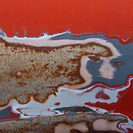 Paint monsters. by Gale Perry - Abstract Patterns ( red, white, animal design, paint, gray, peeling,  )