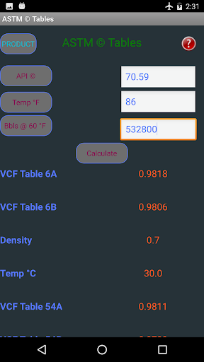 Oil conversion Tables - screenshot
