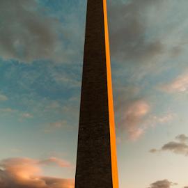 Washington Monument by Myra Brizendine Wilson - Buildings & Architecture Statues & Monuments ( flags, sunset, washington monument, monument, washington dc )