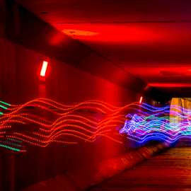 Light Painting Thru The Tunnel by Tina Hailey - Abstract Light Painting ( abstract, light painting, tina's captured moments, tunnel )