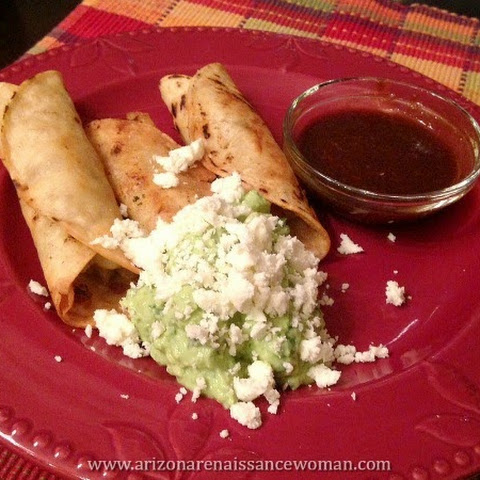 Samosa-Style Potato Rolled Tacos with Avocado-Yogurt Sauce, Queso Fresco, and Tamarind-Chile Salsa