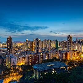 Garden Hill by Raffy Nadayag - City,  Street & Park  Skylines ( shan shui po, garden hill, hong kong, skyline, blue hour, sunset )