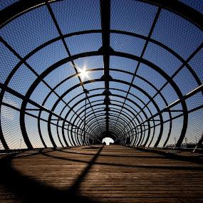 Space tube by Ivana Miletic - Buildings & Architecture Bridges & Suspended Structures ( wire mesh, croatia, bridge, ivana miletic, sun, tunnel )