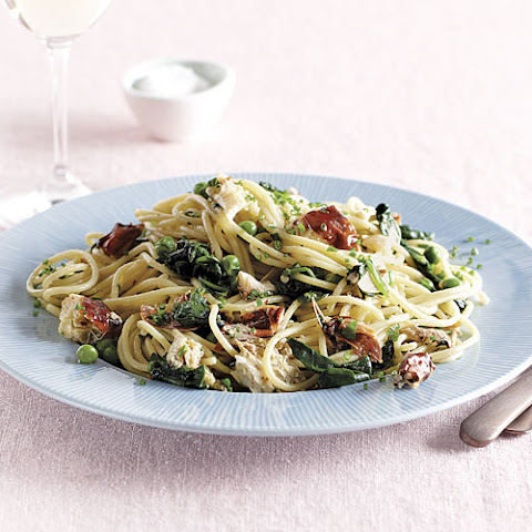 Soft-Shell Crab Spaghetti with Spinach and Peas