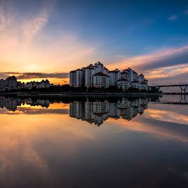 Sunrise @ Tanjong Rhu by Gordon Koh - City,  Street & Park  Vistas ( clouds, reflection, riverfront, asia, dramatic sunrise, symmetry, travel, homes, singapore, tanjong rhu )