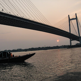 Assignment KOLKATA  by Hrijul Dey - City,  Street & Park  City Parks ( cars, sunset, light trails, bridge, river, trees, speed, architecture, night photography )