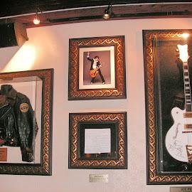Elvis memorabilia  by Judy Jones - Artistic Objects Musical Instruments ( history, jacket, music, memorial, guitar, instrument )