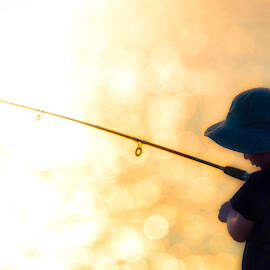 First Fishing Trip by Richard Duerksen - Babies & Children Children Candids ( young boy, coogee, perth, silhouette, sunset, fishing, fisherman, fishing rod, boy )