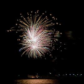 31122017_3747 by Deborah Bisley - Abstract Fire & Fireworks ( water, lights, colour, sea, fireworks, ocean, beach )
