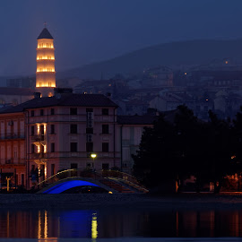 Crikvenica by Dalibor Jud - City,  Street & Park  Night ( adriatic, church, sveti, blue hour, crkva, croatia, sea, hrvatska, foggy, more, crikvenica, jadransko, anton )
