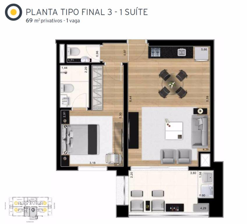 Planta Tipo Final 3 - 69 m²