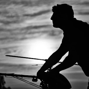 Sunset Silhouette by Jared Van Bergen - People Portraits of Men ( silhouette, sunset, rc helicopter, moody, people )