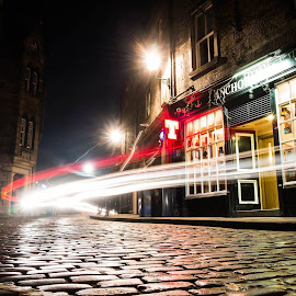 By the Road by Ian Robertson - City,  Street & Park  Night