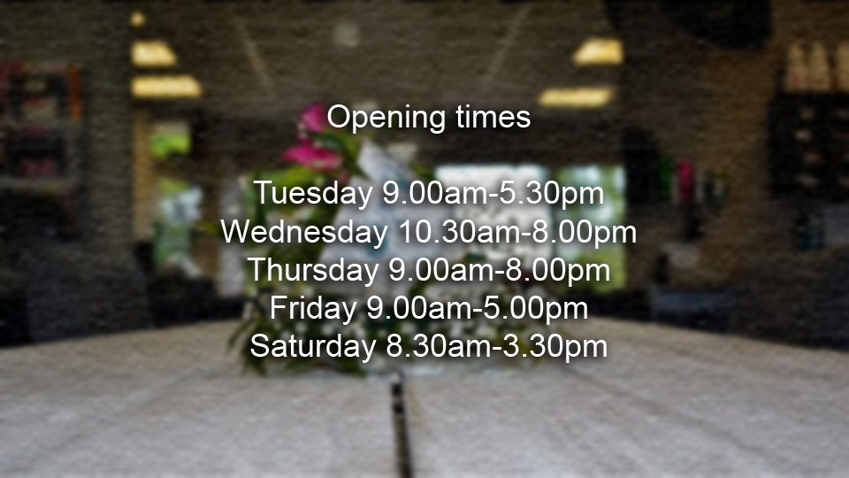 The opening times of our salon.