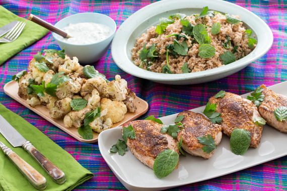 Za'atar-Spiced Chicken with Tabbouleh, Roasted Cauliflower & Tzatziki...