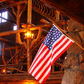 Old Glory by Beth Collins - Buildings & Architecture Other Interior ( building, park, yellowstone national park, wyoming, american flag, historic building, architecture, interior building, historic, history, yellowstone, national park, flag, architecture detail, historic hotel, historic site, old faithful inn, lodge )